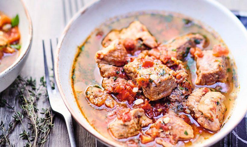 Sauté de veau aux tomates & champignons