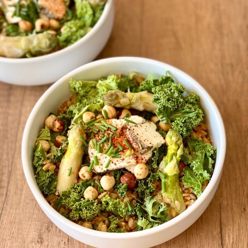 Salade de petit épeautre et d'asperges